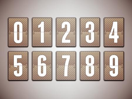 score board: Numbers on mechanical scoreboard  Illustration