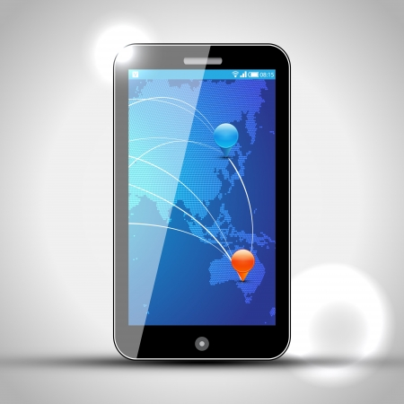 Mobile Phone with GPS navigation Vector