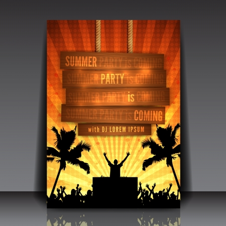 Orange Summer Party Flyer Design - EPS10 Vector Illustration Vector