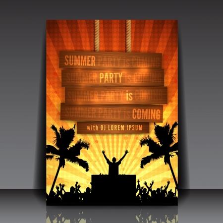 Orange Summer Party Flyer Design - EPS10 Vector Illustration
