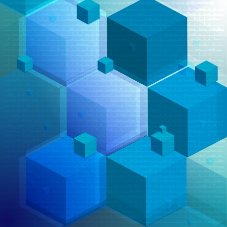 abstract cubes: 3d blue abstract background   Illustration