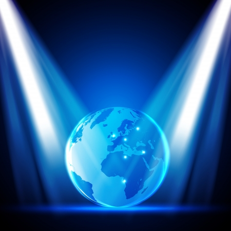 Stage Lights with Globe - Design Vector
