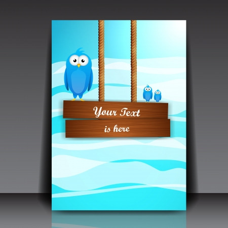 Wooden Billboard and Blue Birds on it  Illustration Vector