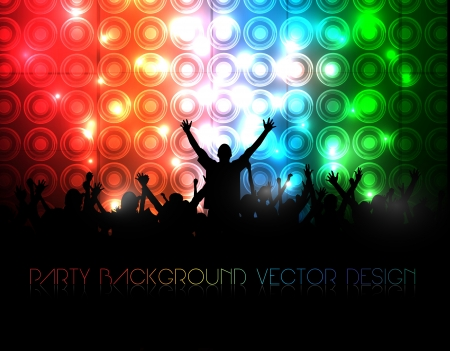 party club:  Party People  Background - Dancing Young People Illustration