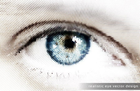 Realistic Eye  Design -Dots Illustration Vector