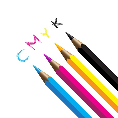 Color pencils cmyk four color process cyan magenta yellow black Vector