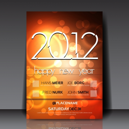 2012 New Year  Flyer Template Vector