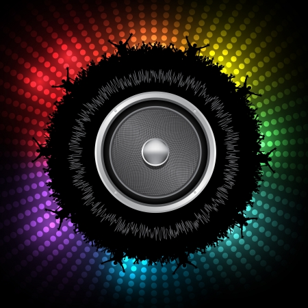 Party People with Audio Speaker  Background - Dancing Young People Vector