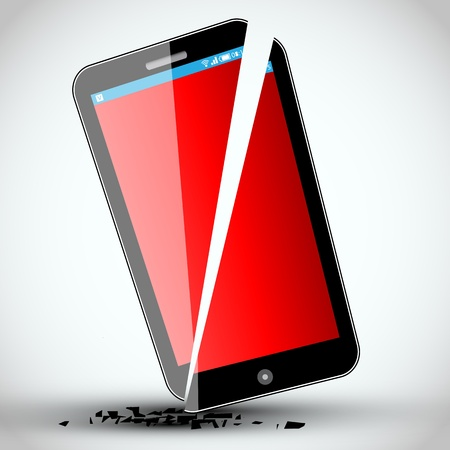 Broken mobile phone -  Illustration -  Design Vector