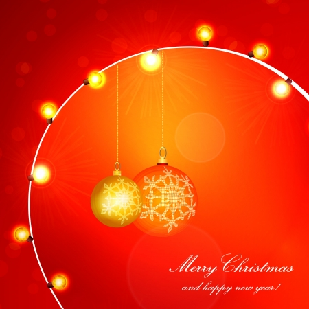 Red Holiday Xmas  Design with Frame  Christmas balls and lamp festive garland  Vector