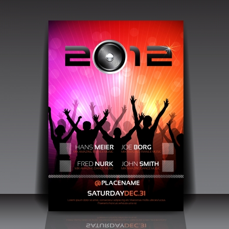 Flyer Design with Dancing Young People Vector