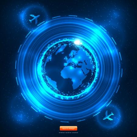 europa: Blue Future Travel  Design with Aeroplanes - European Map