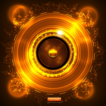 Audio Speaker with Music Notes - Gold Abstract Stock Vector - 14753296