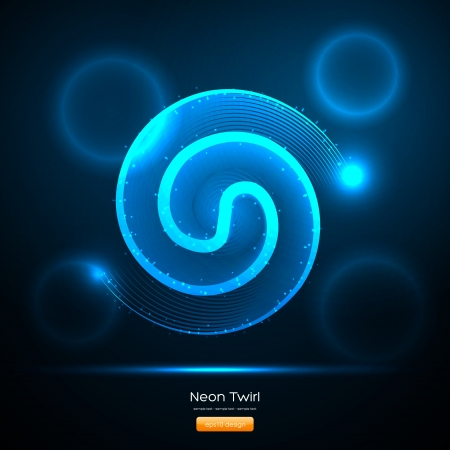 Blue Swirl Line with Shiny Circles - EPS10 Vector Design Stock Vector - 14753328
