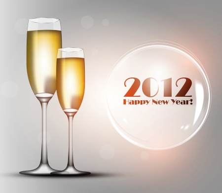 fresh graduate: 2012 Happy New Year Illustration - Two glasses of champagne