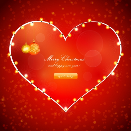 Red Holiday Xmas Design with Frame of Heart  Christmas balls and lamp festive garland  Vector