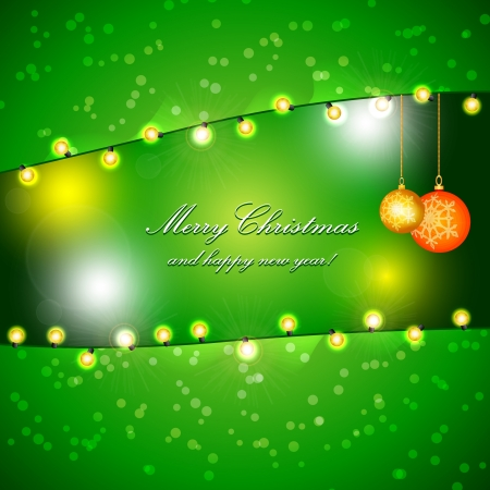 Green Holiday Xmas Design with Frame of Heart  Christmas balls and lamp festive garland  Vector