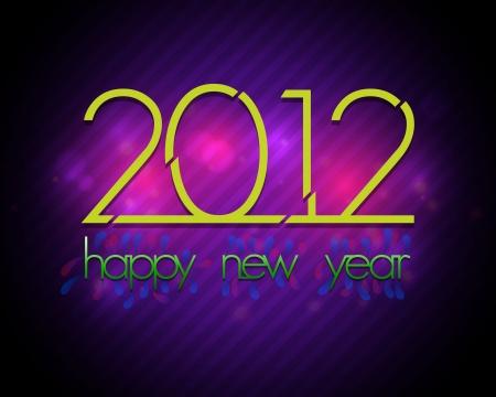 glimpse: 2012 New Year Card - Colorful Retro Design Illustration