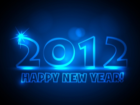 2012 New Year Card - Blue Neon Lights Stock Vector - 15282374