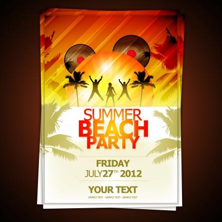 Summer Beach Party Flyer Ilustración de vector