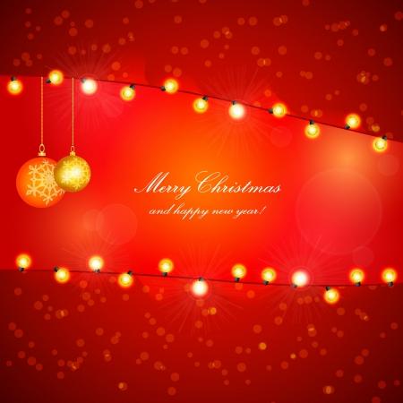 christmas frame: Red Holiday Xmas Design with Frame  Christmas balls and lamp festive garland  Illustration