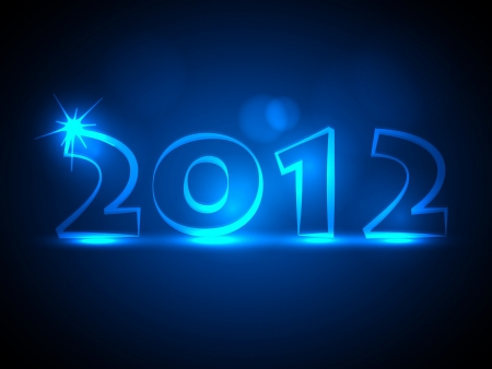 2012 New Year Card - Blue Neon Lights Stock Vector - 15282480