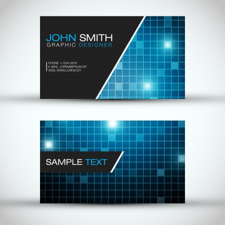 business card layout: Blue Modern Business Card Set