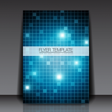 future space: Blue Squares - Flyer Template Illustration