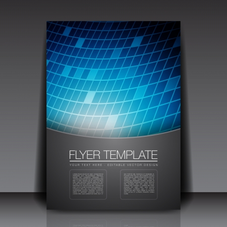 3D Blue Squares - Flyer Template Vector