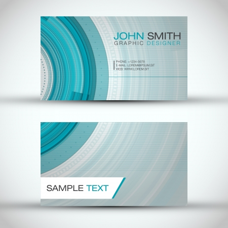 business card layout: Abstract Technology Circles Business Card Set Illustration