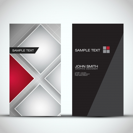 business card template: Vertical Modern Business Card Set Illustration
