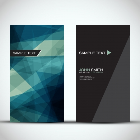 business card layout: Blue Modern Vertical Business Card Set Illustration