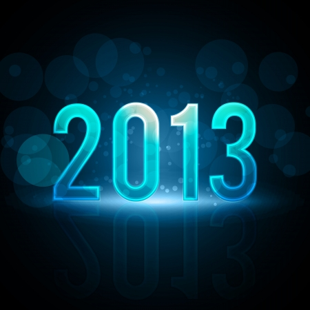 Happy New Year 2013 Message Neon Background Vector