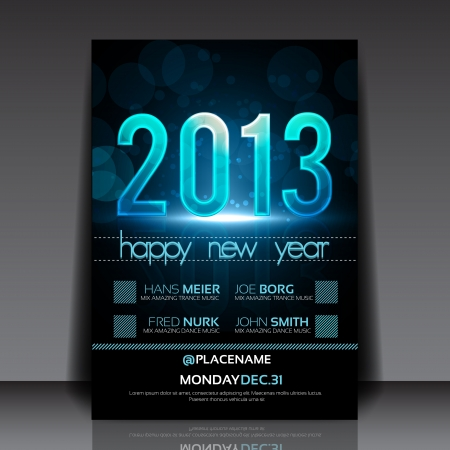Happy New Year 2013 Blue Flyer Template Vector