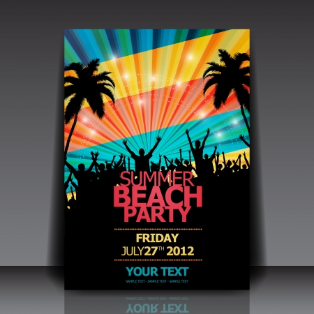 Retro Summer Beach Party Flyer Vector