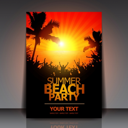 summer party: Flyer Beach Summer Party Vettoriali
