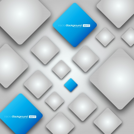 3D Shiny Rounded Squares on grey background Illustration Vector