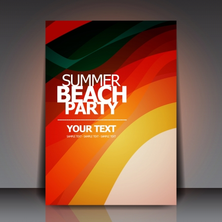 beat brochure: Summer Beach Retro Party Flyer Illustration