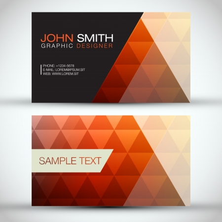 brown: Orange Modern Abstract Business - Card Set Illustration