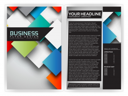 template: Colorful 3D Squares - Business Brochure Template Design Illustration