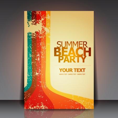 summer party: Summer Beach Retro Party Flyer Design