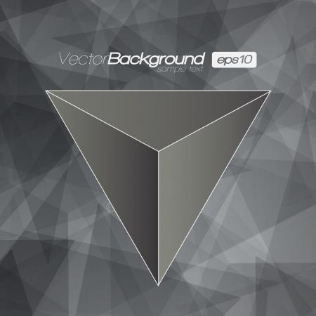 삼각형: 당신의 텍스트를 흑백 3D 삼각형 배경 일러스트