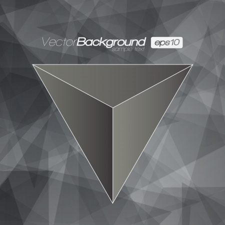 Black and White 3D Triangle background for Your Text Vector