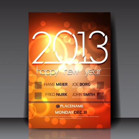 2013 New Year Editable Flyer Template Stock Vector - 15775520