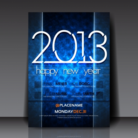 2013 New Year Editable Flyer Template Stock Vector - 15775525