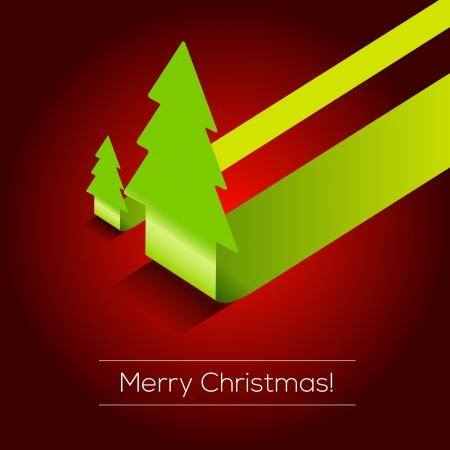 christmas template: 3D albero di Natale sfondo