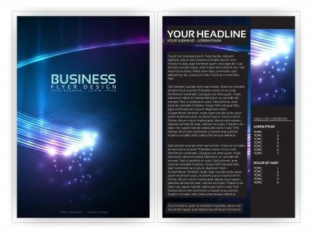 vezels: 3D Optische Fibers Business Brochure Sjabloon Stock Illustratie
