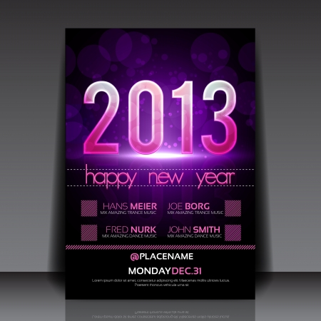 Happy New Year 2013 Purple Editable Flyer Template Vector