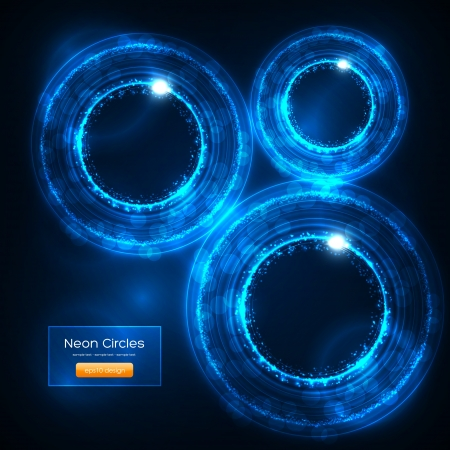 Neon Circles Abstract Vector Background Stock Vector - 16135551