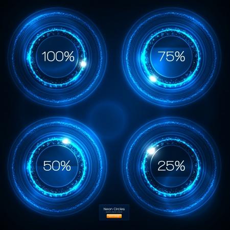 vision nocturna: Infograf�a Neon Blue Design Vector